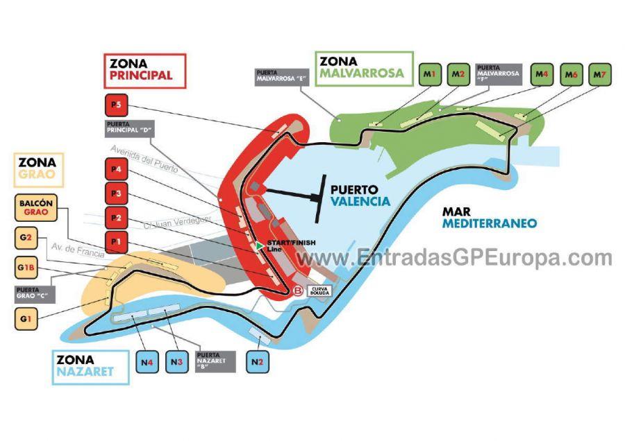 Circuito Urbano De Valencia : Entrada f tribuna m gran premio europa formula valencia